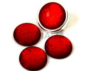 Resin. Cabochon. 20mm. Matt glittering red. Best Quality.
