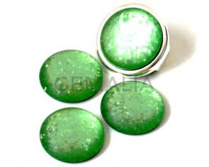 Resin. Cabochon. 20mm. Matt glittering green. Best Quality.