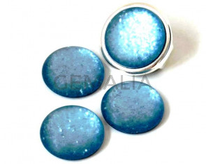Resin. Cabochon. 20mm. Matt glittering turquoise. Best Quality.