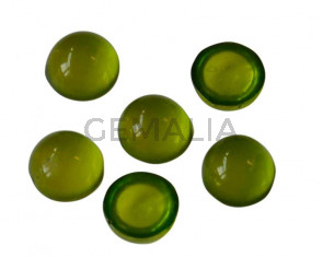 Resin. Cabochon. Coin. 7,2mm. Apple green. Best Quality.