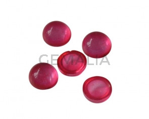 Resin. Cabochon. Coin. 7,2mm. Fuchsia. Best Quality.