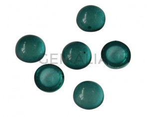 Resin. Cabochon. Coin. 7,2mm. Dark green. Best Quality.