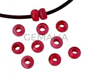 Resin rondell 6.5x6.5x4mm. Marbled fuchsia. Inn.3mm aprox. Best Quality.