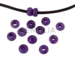 Resin rondell 6.5x6.5x4mm. Marbled violet. Inn.3mm aprox. Best Quality.