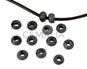 Resin rondell 6.5x6.5x4mm. Marbled grey. Inn.3mm aprox. Best Quality.