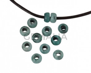 Resin rondell bead 6.5x6.5x4mm. Green. Inn.3mm. Best Quality.