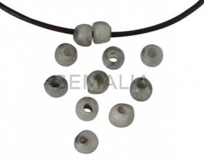 Resin Round bead 7x7x5mm. Light Grey. Inn.3mm. Best Quality.