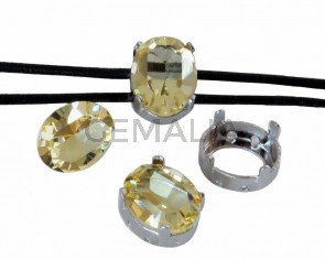 SWAROVSKI 4128.Fancy Stone&Setting.10x8mm.Jonquil.Rodio.Inn.1.2mm