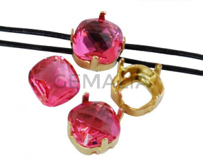 SWAROVSKI 4461.Fancy Stone&Setting. 8mm.Indian Pink .Gold.Inn.1.2mm