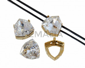 SWAROVSKI 4706.Fancy Stone&Setting.12mm.Crystal F.Gold.Inn.1.2mm