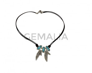 NECKLACE Blue Swarovski  feather