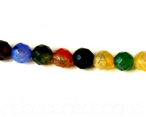 Agate. Boom. Round, 10mm faceted. 15-inch strand.