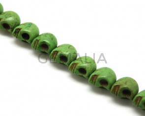 Magnesite. Skull. 14x18mm. Green. Inn. 1mm. approx. 21 PCs.