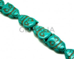 Turquoise. Dyed. Owl. 19x28x7mm. 15-Inch Strand