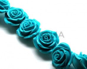 Turquoise. Synthetic. Flower. 45mm. 12PCs.