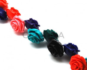 Turquoise. Synthetic. Flower. 35mm. Multicolor. 16PCS.