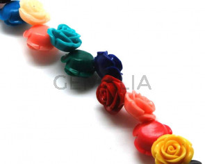 Turquoise. Synthetic. Flower. 24mm. Multicolor. 25PCs.