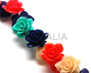 Turquoise. Synthetic. Flower. 28mm. Multicolor. 25PCs.