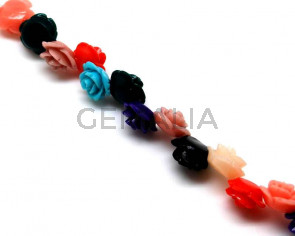 Synthetic Coral. Flower. 15mm. Multicolor. 40PCs.