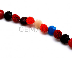Synthetic Coral. Flower. 11mm. Multicolor. 40PCs.