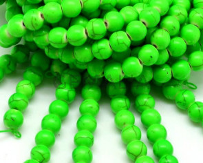 Turquoise. Dyed. Round. 8mm. Fluorescent green. Inn.1mm.approx.