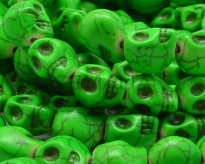 Turquoise. Dyed.Skull.14x10x12.5mm.Fluorescent green.Inn.1.5mm.approx.