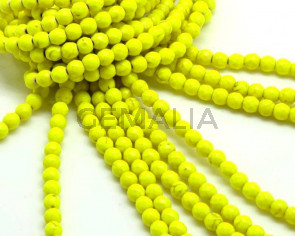 Turquoise.Dyed.Round.6mm.Faceted.Fluorescent yellow.Inn.1.5mm.approx