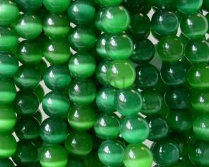 Cats eye. Round. 12mm. Green.