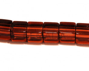 Glass beads, 6mm cube. brown.