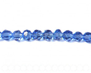 Glass beads, 4mm faceted round. sky blue. 13-14inch strand.