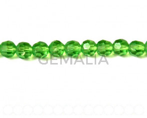 Glass beads, 4mm faceted round. green. 13-14inch strand.