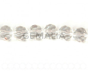 Glass beads, 12mm faceted round. clear. 13-14inch strand.