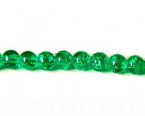 Glass Beads. Crackle. Round, 8mm. Emerald. 32Inch Strand.