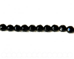Glass beads. Round, 10mm faceted. Black. 13-14-Inch Strand.