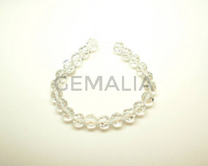 Crystal. Round. Faceted. 16mm. 16-inch strand.