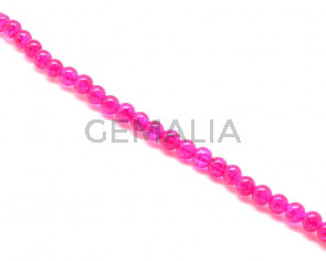 Crackle Glass. Round. 8mm. Fuchsia. 15-Inch Strand.