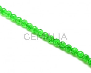 Crackle Glass. Round. 10mm. Green. 15-Inch Strand.