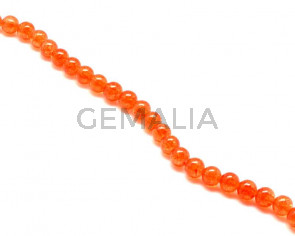 Crackle Glass. Round. 10mm. Orange. 15-Inch Strand.