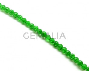 Crackle Glass. Round. 8mm. Green. 15-Inch Strand.
