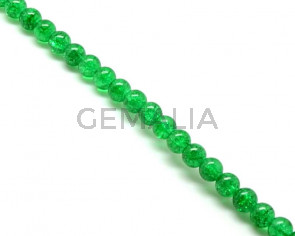 Crackle Glass. Round. 10mm. Emerald green. 15-Inch Strand.