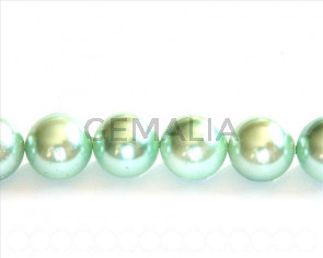 Shell pearl, 16mm round. Light green. Inn. 1mm. 16-inch strand.
