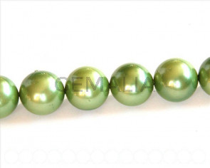 Shell pearl, 16mm round. Matt green. Inn. 1mm. 16-inch strand.
