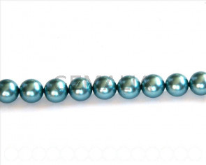 Shell pearl, 8mm round. Sea blue. Inn. 1mm. 16-inch strand.