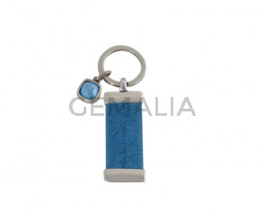 KEY RING zamak-leather cord-SWAROVSKI