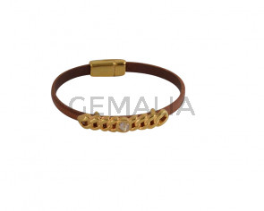BRACELET leather cord-zamak-swarovski