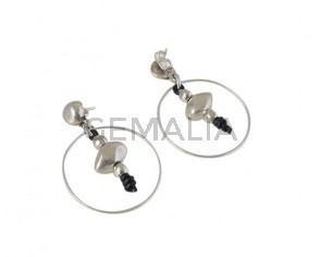 EARRINGS Zamak - Leather Cord