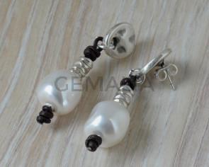 G42007 EARRINGS Leather Cord - Zamak - pearl  Swarovski