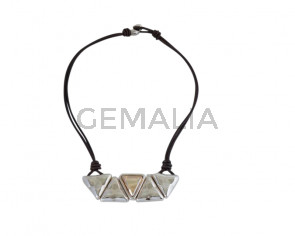NECKLACE leather cord-zamak-SWAROVSKI