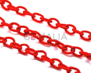 Silk chain. 6.8x10.2mm. Red. 85cm.