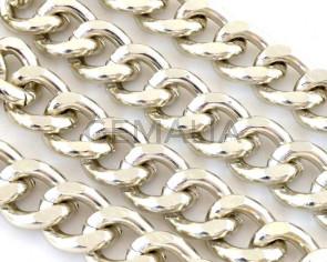 Aluminium. Chain. 15.6x11.5x3.2mm. Silver color.